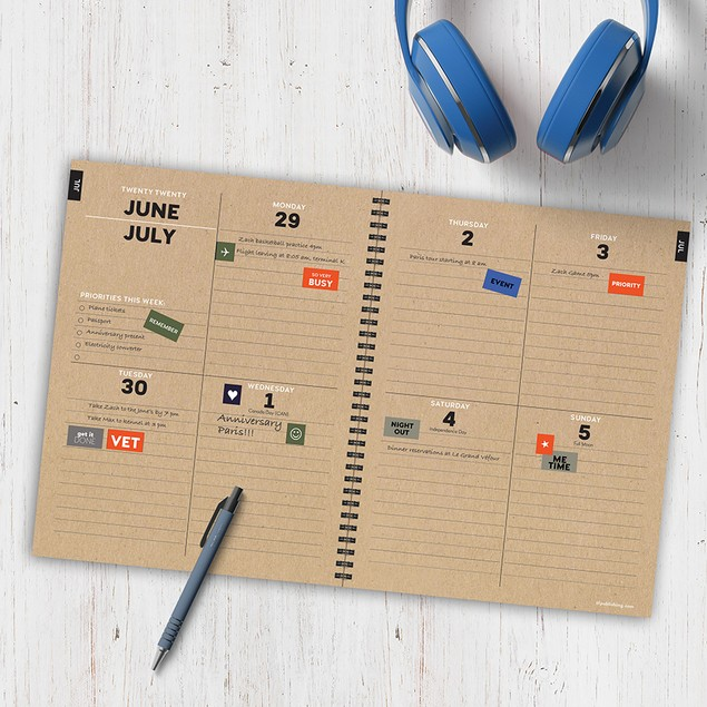 July 2020 - June 2021 Kraft Series Large Daily Weekly Monthly Planners