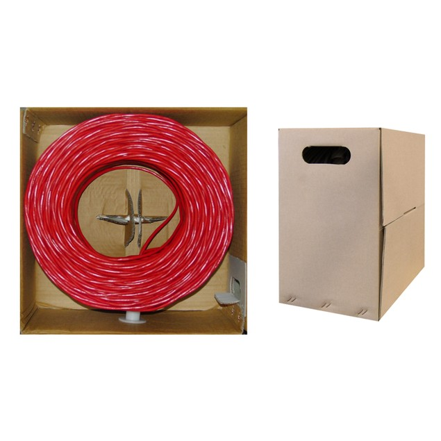 Bulk Cat5e Red Ethernet Cable, Solid, UTP Pullbox