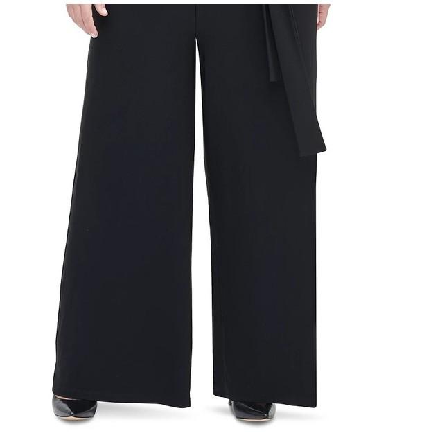 Tommy Hilfiger Women's Plus Size Surplice Wide-Leg Jumpsuit Black Size 18