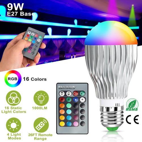 9W LED Light Bulb E27 RGB Lamp Bulb 16 Colors Changable