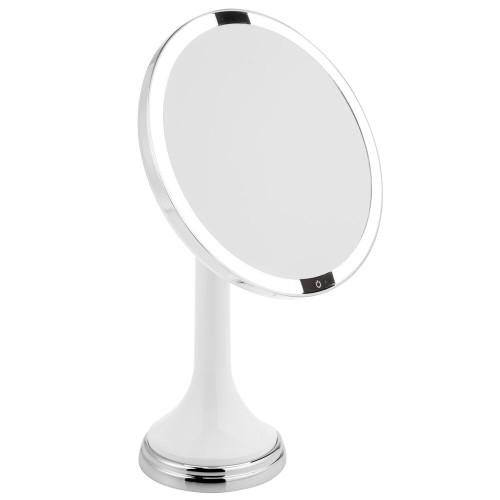 "mDesign Sensor LED Lighted Makeup Vanity Mirror, 8"" Round, 3X"