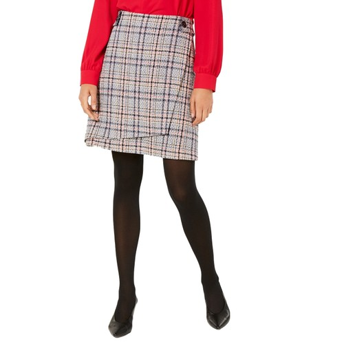 "Bar III Women's Assymetrical Tweed Skirt Navy Multi Size 16"""
