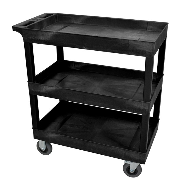 """Luxor 18"""" x 32"""" Three Shelves Tub Cart with SP5 Casters - Black"""