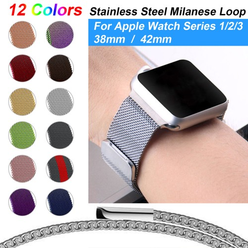 Stainless Steel Milanese Loop Band Replacement for 38MM Apple Watches Series 1/2/3