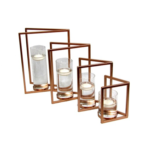 Spura Home Double Rectangular Iron Candle Holder Copper Brown