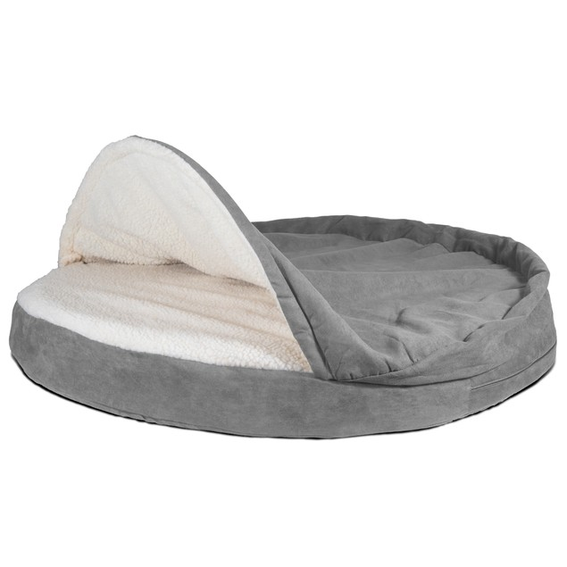 FurHaven Memory Foam Round Faux Sheepskin Snuggery Burrow Pet Bed