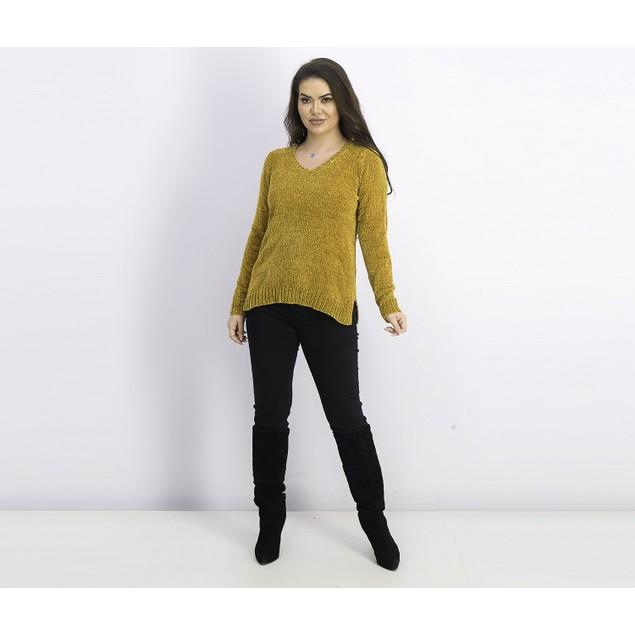 Karen Scott Women's V-Neck Chenille Sweater Golden Size Small