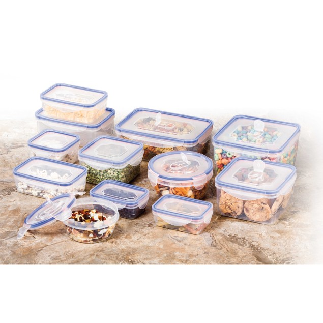 24 Pcs Plastic Food Storage Containers Set Blue Air Tight Locking Lid