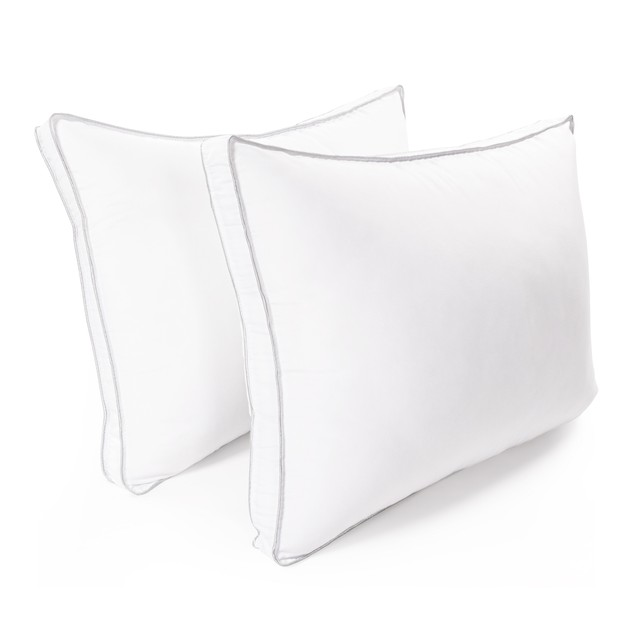 Pillow With 1.5 Inch Gusset (Set Of 2)-100% Microfiber - White-Grey    Two