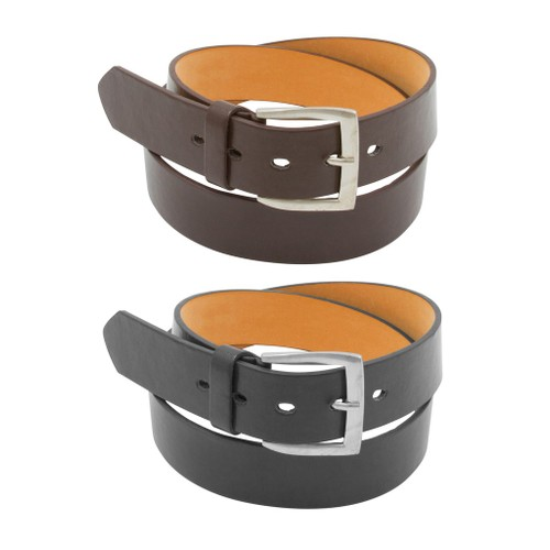 2 Pack: Men's Black & Brown Solid Belts