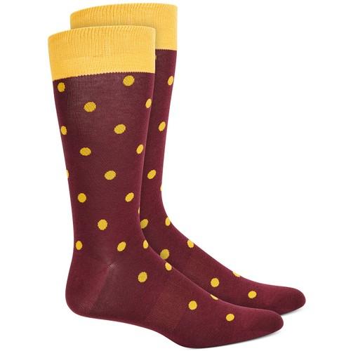 Bar III Men's Polka Dot Socks Wine Size Regular