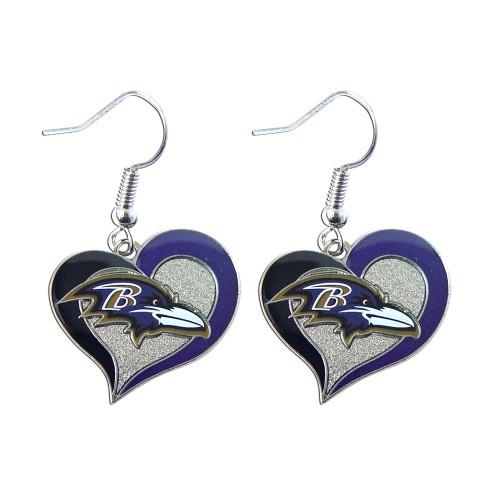 """NFL Baltimore Ravens 3/4"""" Swirl Heart Shape Dangle Logo Earring"""