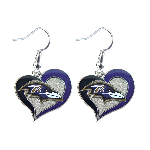 "NFL Baltimore Ravens 3/4"" Swirl Heart Shape Dangle Logo Earring"
