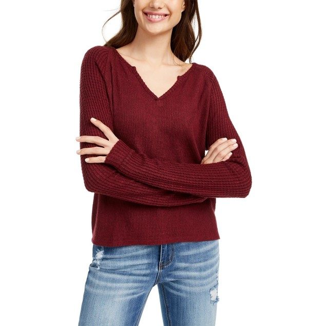 Planet Gold Juniors' Super Soft Ribbed Top Brown Size Extra Large