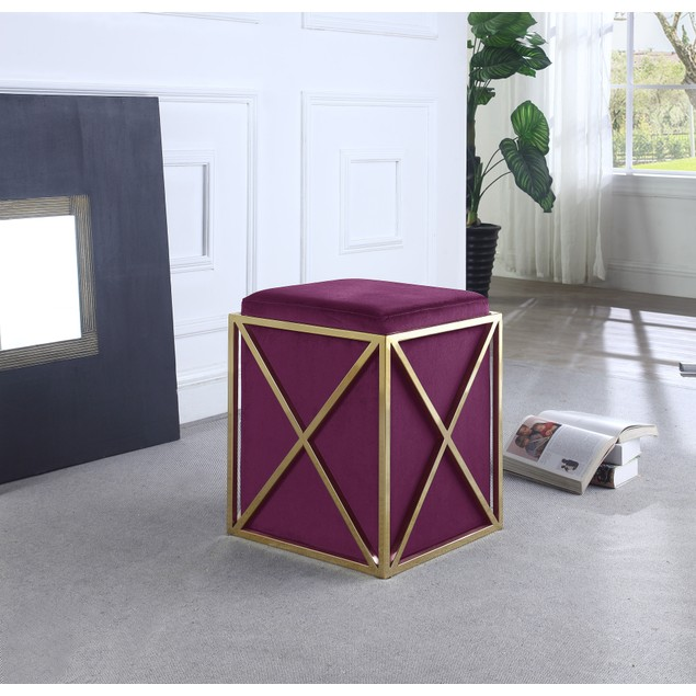 Chic Home Genesis Stainless Steel X Frame Square Velvet Bench Ottoman