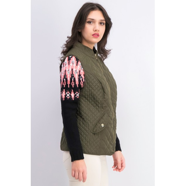 Charter Club Women's Quilted Stand-Collar Vest Dark Green Size Small
