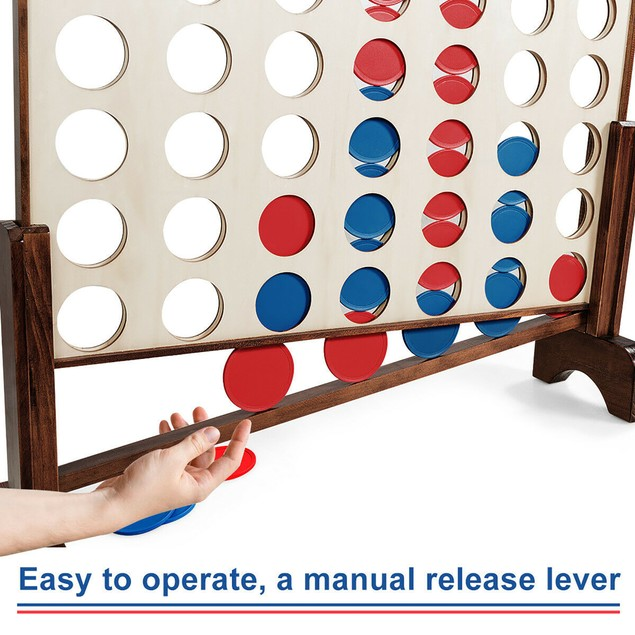 Costway Giant 4 In A Row Game Wood Board Connect Game Toy For Adults Kids w