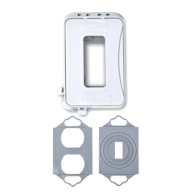 Taymac Horizontal Mount Weatherproof In-Use Outdoor Outlet Cover, White