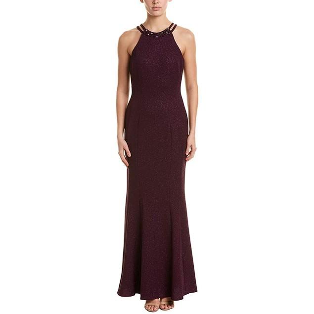 Nightway Women's Glitter-Knit Gown Purple Size 10