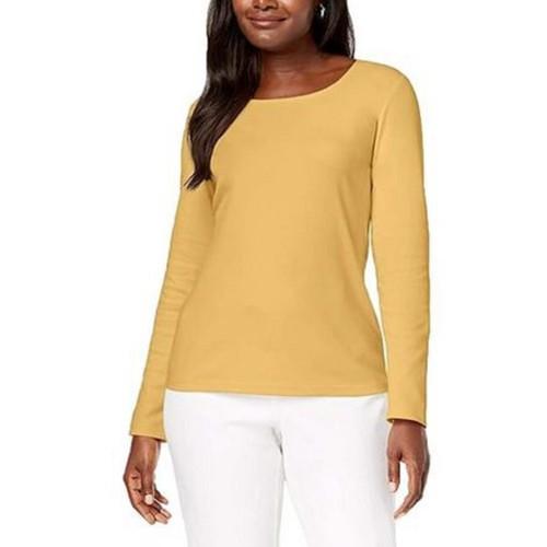 Karen Scott Women's Petite Cotton Scoop-Neck Top Yellow Size Petite-Large