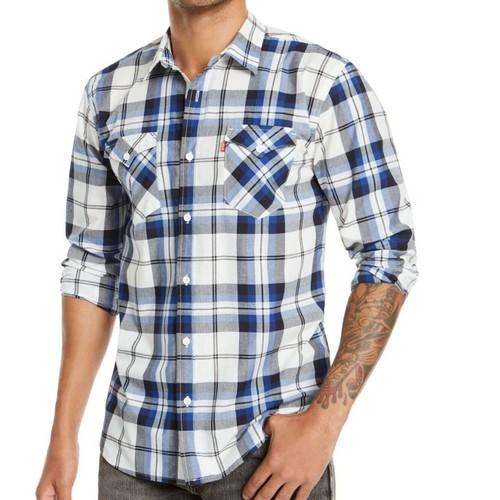 Levi's Men's Clemente Regular-Fit Plaid Shirt White Large