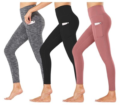 3-Pack Women's Active Athletic Leggings with Side Pockets Was: $89.99 Now: $32.49.