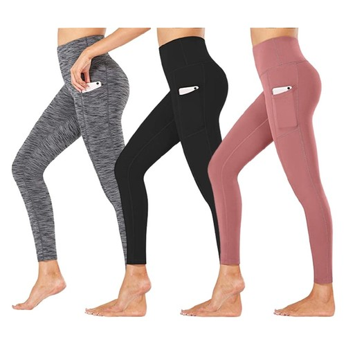 3-Pack Women's Active Athletic Leggings with Side Pockets