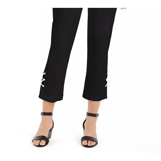 JM Women's Collection Lace-Up Tummy-Control Ankle Pants Black Size Large