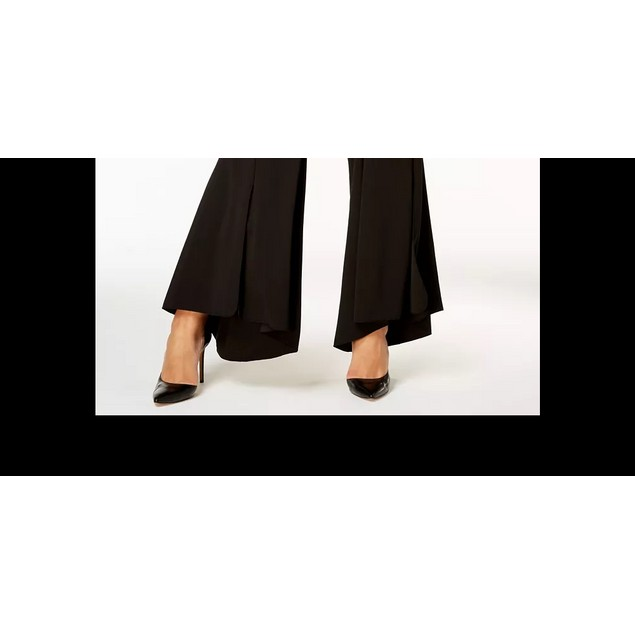 INC International Concepts Women's Flared High Low Hem Pants Black Size 20W