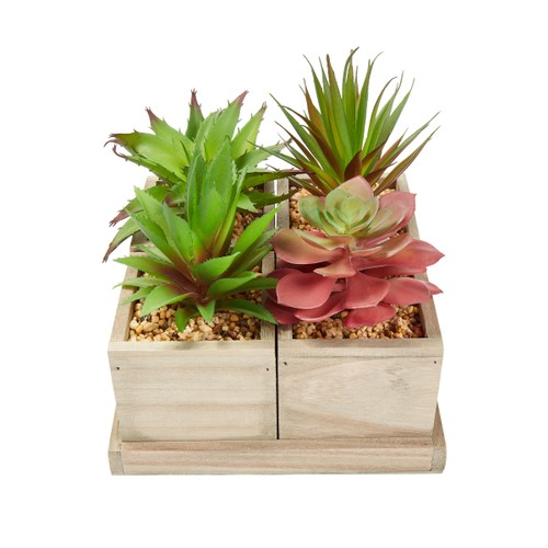 Faux Succulents – Assorted Lifelike Plastic Greenery Arrangement with Decorative Wooden Boxes for Indoor Home or Office by Pure Garden (4 in 1 Set)