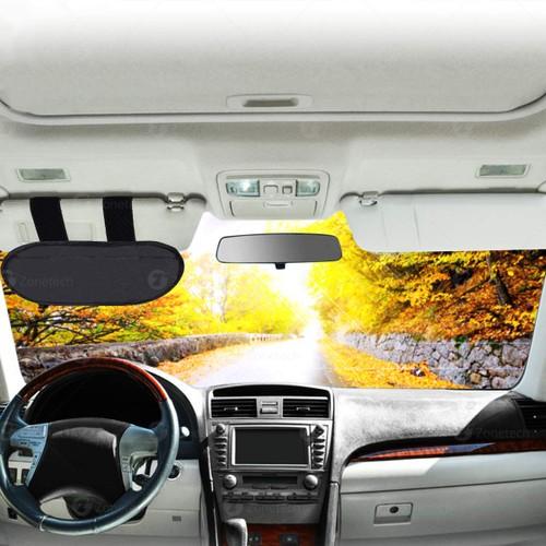 Zone Tech Black Anti Glare Windshield Car Visor Extender SunShade Blocker