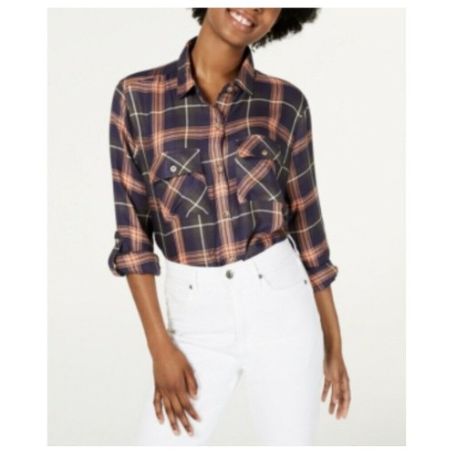 Polly & Esther Women's Plaid Utility Shirt Peach Size Extra Small