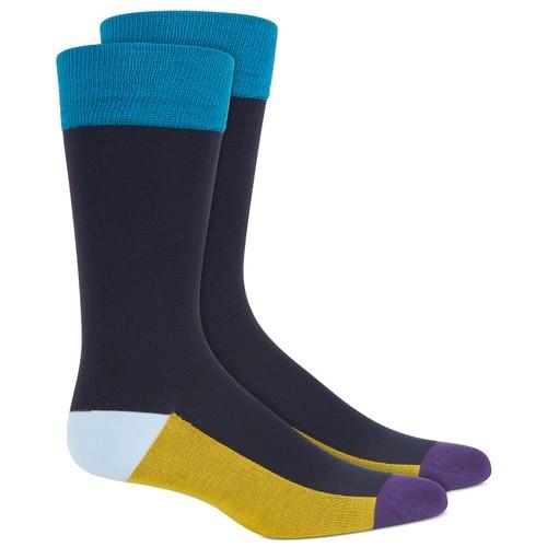 Alfani Men's Colorblocked Stripe Socks Blue Size Regular