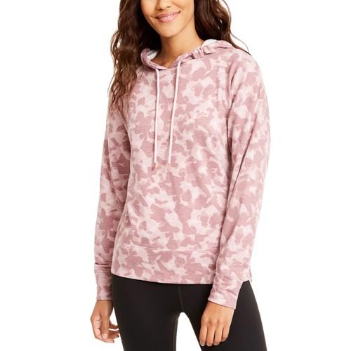 Ideology Women's Zip-Hem Shimmer Hoodie Pink Size Extra Small