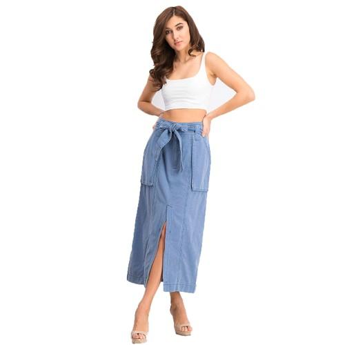 Free People Women's Catching Feelings Midi Skirt Navy Size 2