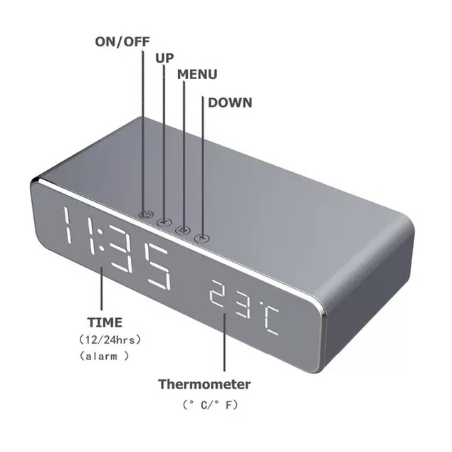 Wireless Charging LED Alarm Clock with Wall Adapter