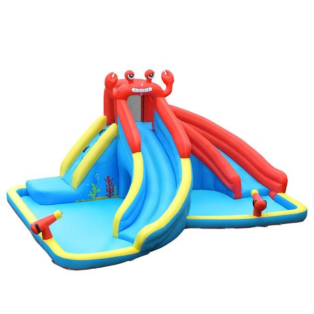 Costway Inflatable Water Slide Crab Dual Slide Bounce House Splash Pool Wit