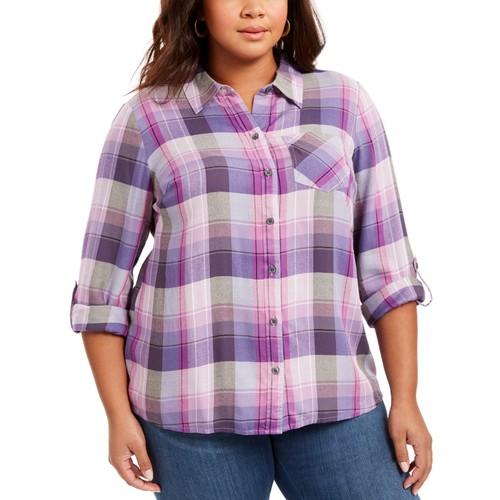 Style & Co Women's Plus Size Plaid Button-Front Shirt  Med Purple Size 1X