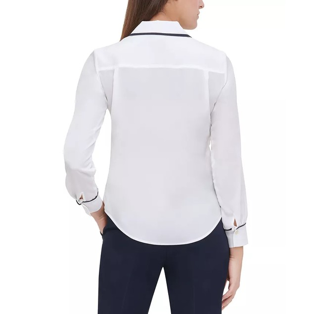 Tommy Hilfiger Women's Iconic Ribbon Collared Blouse White Size Extra Small