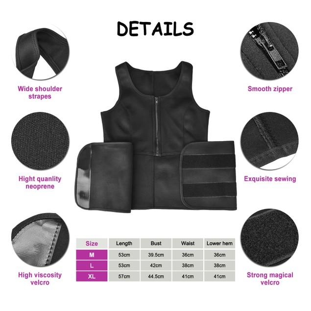 ODOLAND Neoprene Women Sauna Suit, Best Waist Trainer Body Shaper, Black