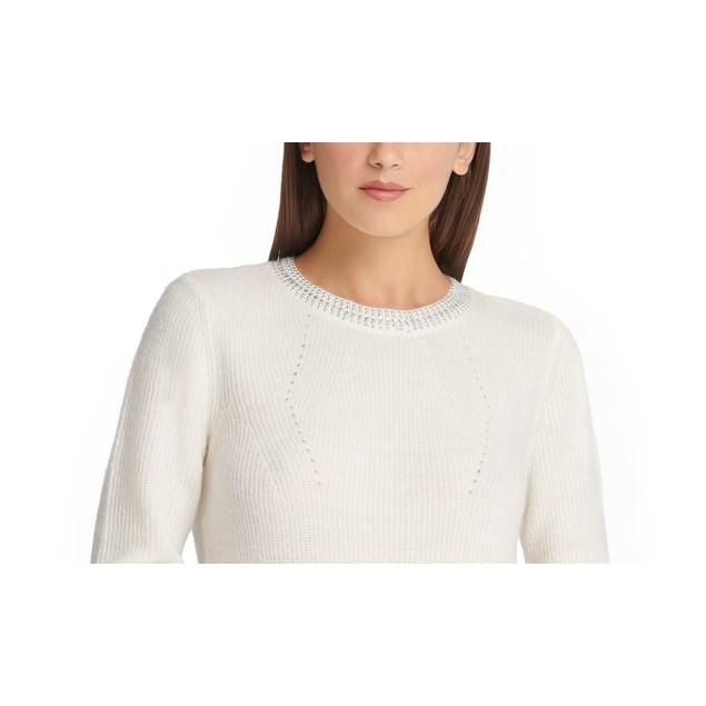 DKNY Women's Embellished Sweater White Size X-Large