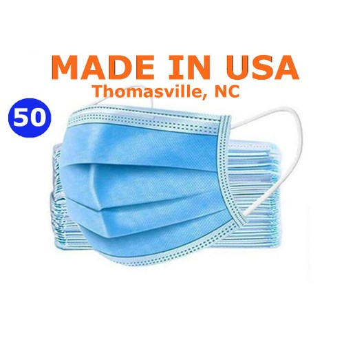 GS Medical Disposable Face Mask, Made in USA, 50/Box, (Non Surgical Mask)