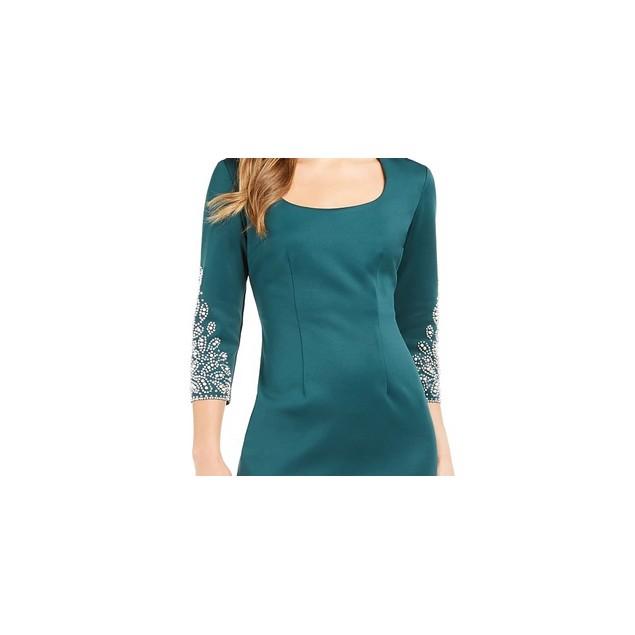 SL Fashions Women's Embellished Scuba Sheath Dress Green Size 12