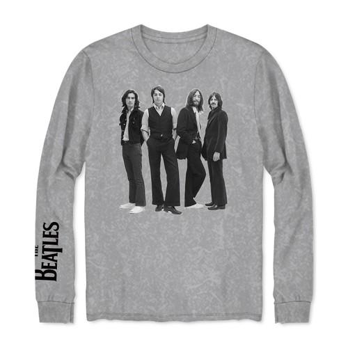 Hybrid Men's Long-Sleeve Beatles Graphic T-Shirt Gray Size Medium