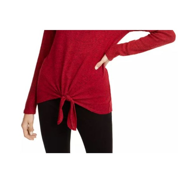 BCX Junior's Textured Tie Front Cowlneck Sweater Red Size Large