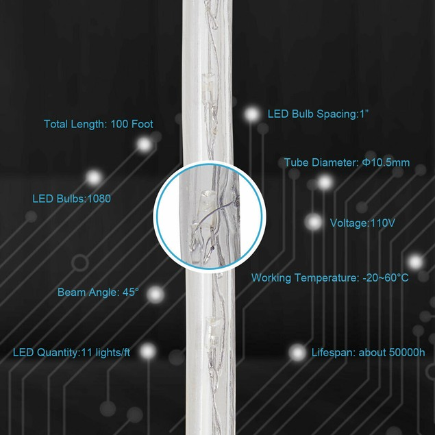 100' 2 Wire LED Rope Lights