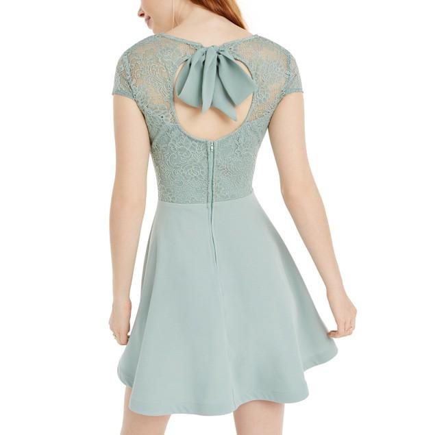 B Darlin Juniors' Lace-Top A-Line Dress Aqua Size 7-8