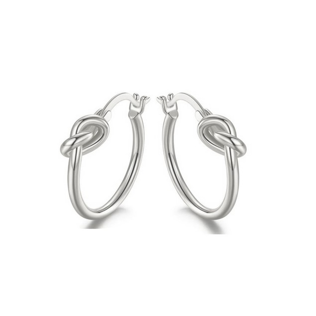 French Lock Knot Hoops In 18K Gold