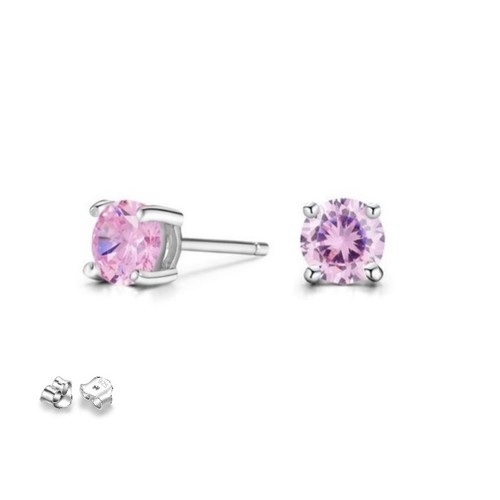 Sterling Silver 3MM Pink Cubic Zircon Round Children's Post Earrings.