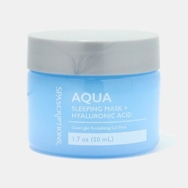 SpaScriptions Aqua Sleeping Mask + Hyaluronic Acid, Overnight Gel Mask, 1.7